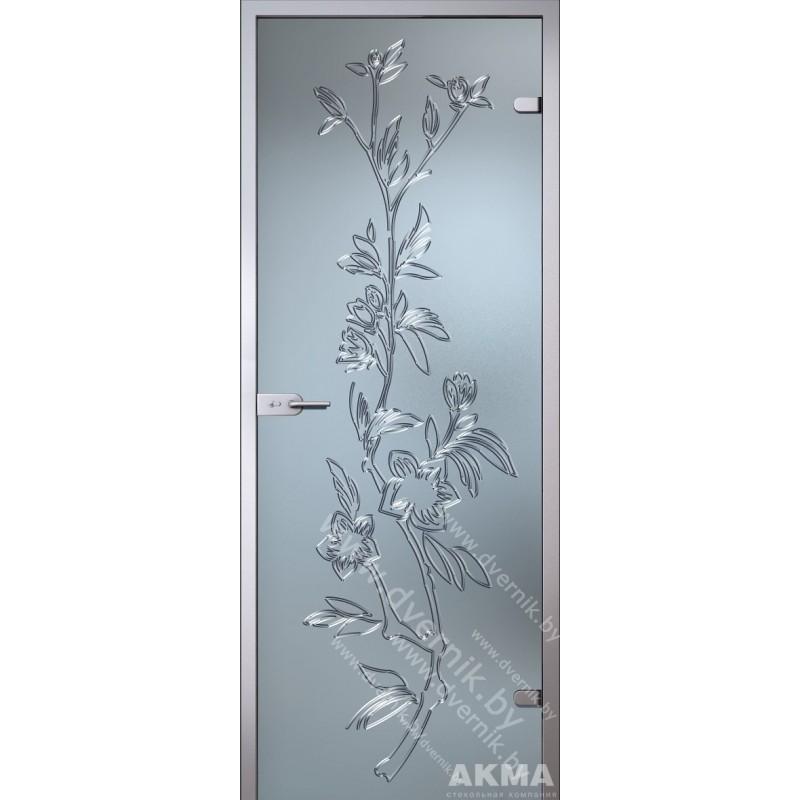 "Межкомнатная стеклянная дверь ""Лизиантус"""